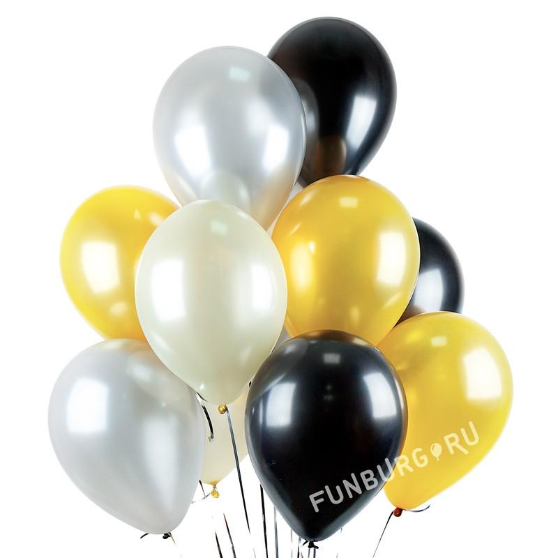 Шарики без рисунка «Ассорти (шампанское)»Новый год<br>Размер: 30 см (12)<br>Цвета: серебряный, золотой, айвори, черный Производитель: Sempertex, Колумбия<br>