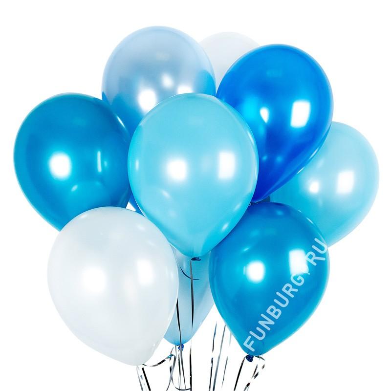 Шарики без рисунка «Ассорти (морской бриз)»Латексные без рисунка<br>Размер: 30 см (12)<br>Цвета ассорти: карибская синева, синий, голубой пастель, голубой перламутр, белый<br>Производитель: Sempertex, Колумбия<br>
