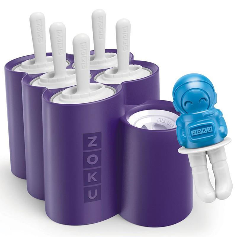 Форма для мороженого «Space» 6 шт. <br>Размер (без упаковки):<br><br><br>19,5?17,4?13,25 см<br><br> <br>Производитель:<br><br><br>Zoku<br><br> <br>Объем:<br><br><br>объем формы-ракеты - 60 мл, астронавта - 30 мл<br><br> <br>Состав набора:<br><br><br>5 съемных форм-ракет, 1 форма в виде астронавта и 6 палочек для мороженого<br><br>