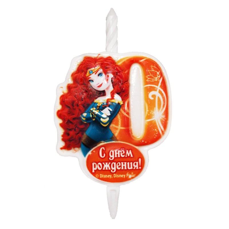 Свеча тортовая Цифра 0 «Принцесса Мерида»Свечи на торт<br> <br>Размер:<br><br><br>12?6,8 см<br><br>