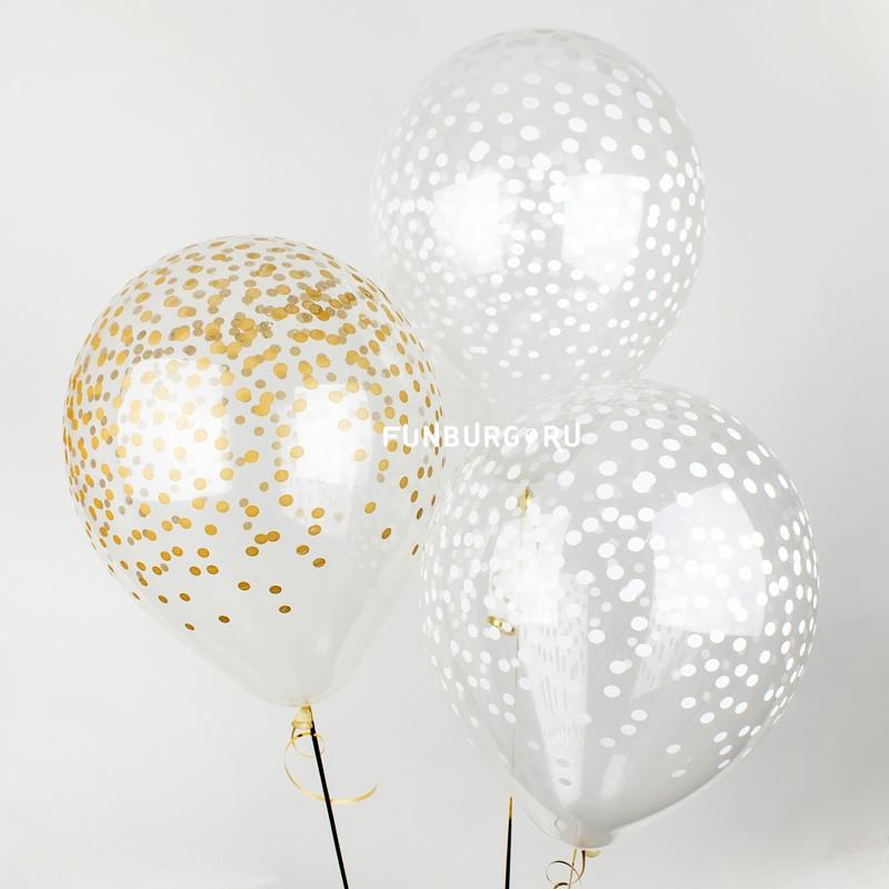 Воздушные шары «Конфетти»Свадьба<br>Размер: 30 см (12)Цвет шаров: белый и золотой<br>