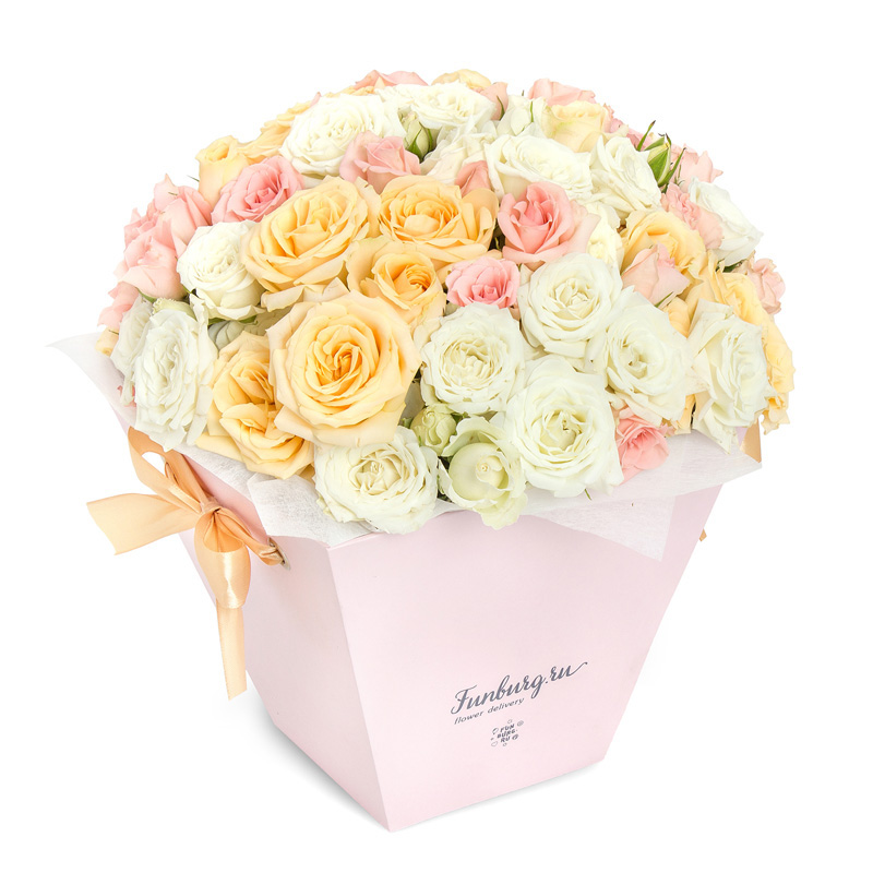 Цветы в коробке с ручками «Барышня»Коробочки с цветами<br> <br>Размер:<br><br><br>высота 30 см, диаметр 30 см<br><br>