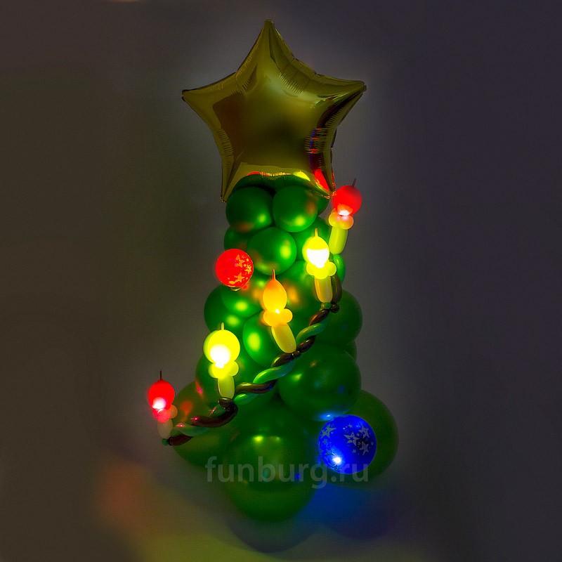 Светящаяся фигура «Светящаяся ель»Светящиеся шары<br>Размер фигуры: 120?40 см<br><br><br>Цвет ели, её вершина, детали украшения - все может быть изменено в соответствии с вашим желанием! Мигающие светодиоды могут быть белыми или разноцветными – консультируйтесь с операторами интернет-магазина.<br><br><br>