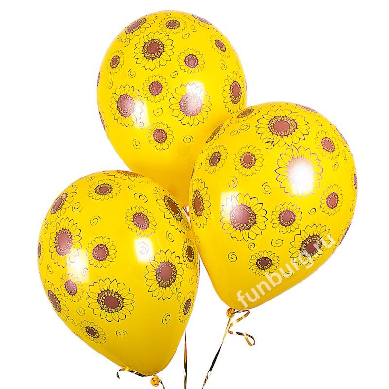 Воздушные шары «Подсолнухи»Латексные с рисунком<br>Размер: 30 см (12)Производитель: Sempertex, КолумбияЦвет: желтые шары с подсолнухами<br>