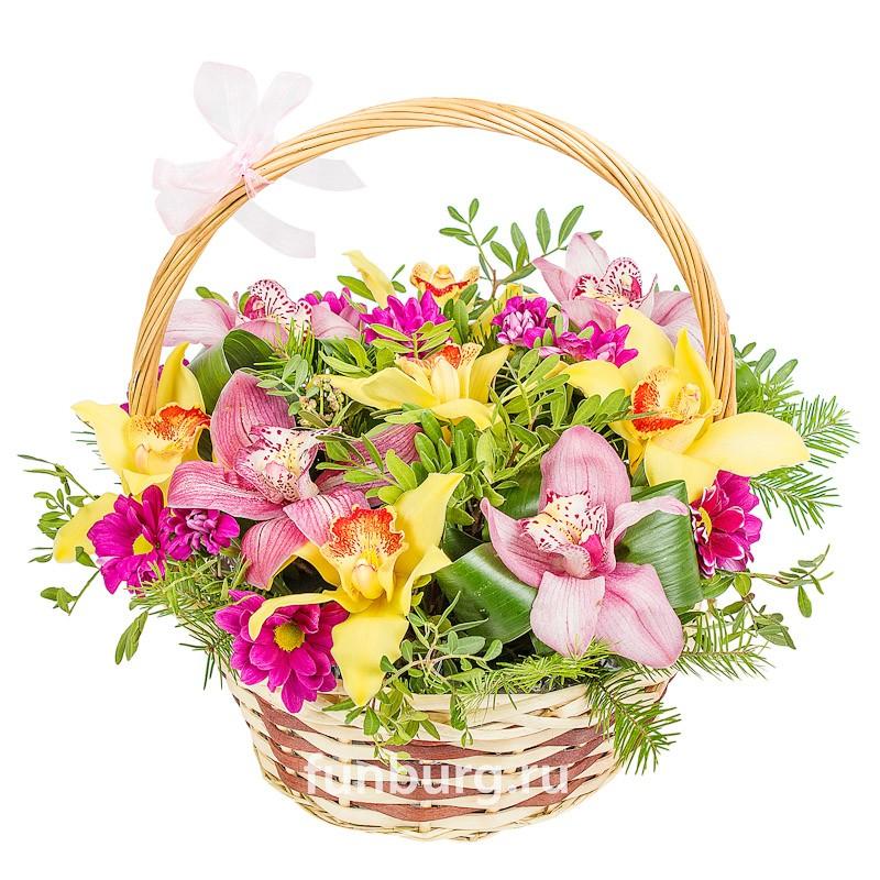 Корзина цветов «Персия»Корзины цветов<br> <br>Размер:<br><br><br>диаметр 30-35 см, высота 30 см<br><br>