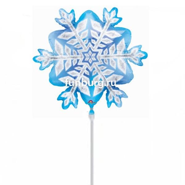 Шар на палочке «Снежинка»Из фольги с рисунком<br>Размер: 35 смПроизводитель: Anagram, США<br>