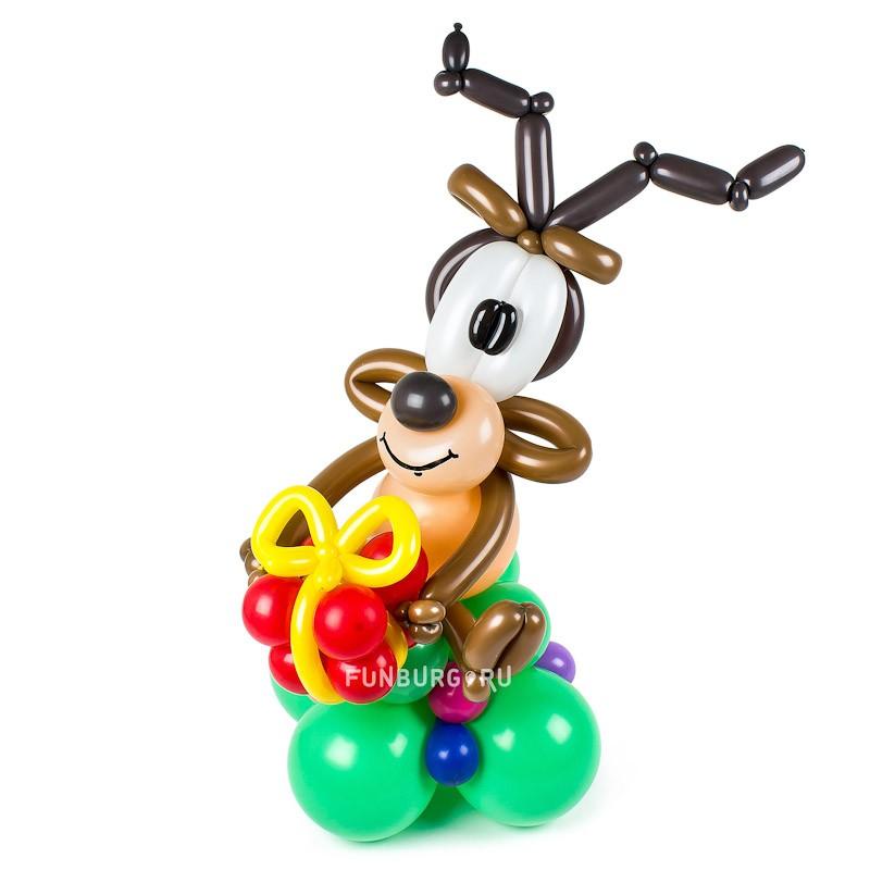 Фигура из шаров «Новогодний олень»Все фигуры<br>Высота фигуры: 60 см<br> Производство: Funburg.ru<br>