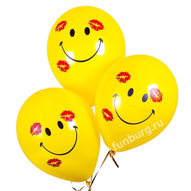 Воздушные шары «Улыбки с поцелуями»Латексные с рисунком<br>Размер: 30 см (12)<br>Производитель: Sempertex, Колумбия<br>