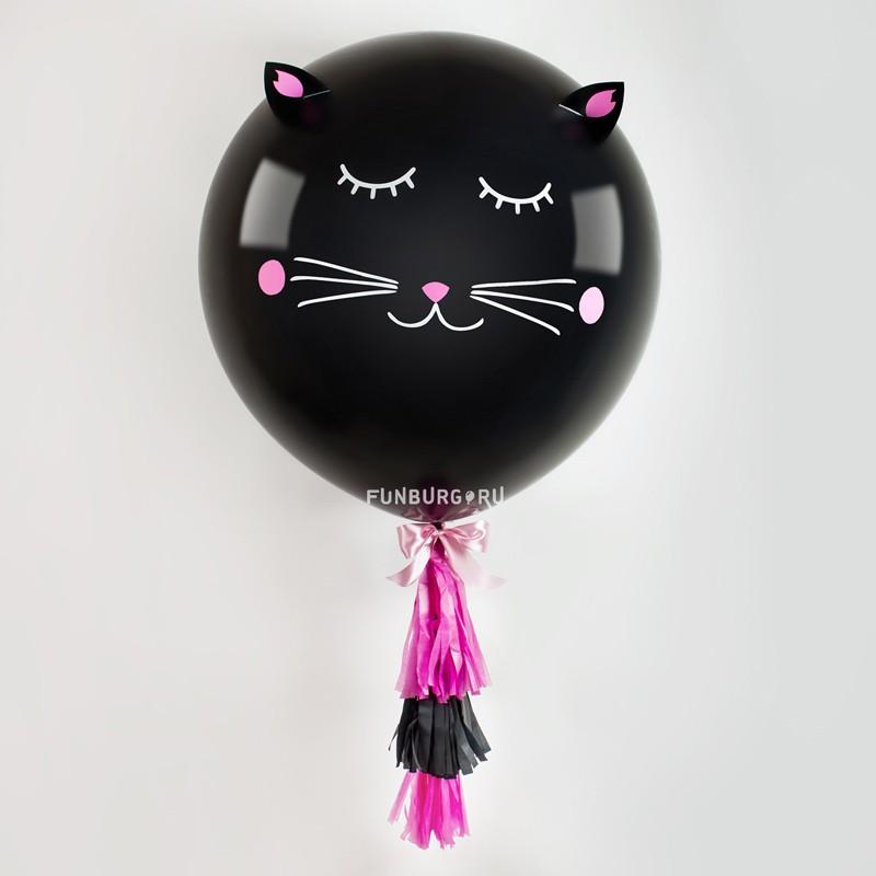 Метровый шар «Кот»На вечеринку<br>Диаметр: 70-80 смПроизводитель: Sempertex, Колумбия<br>Состав: метровый шар с декором, 3 кисточки, груз.<br>Цвет шара и декора может быть изменён по вашему желанию.<br>