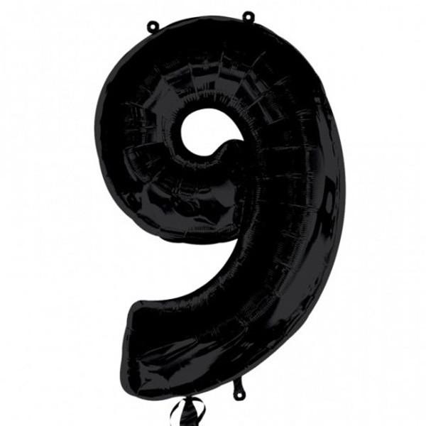 Шар из фольги «Цифра 9 (чёрная)»Цифры<br>Размер: 100?60 см Производитель: Betallic, США<br>