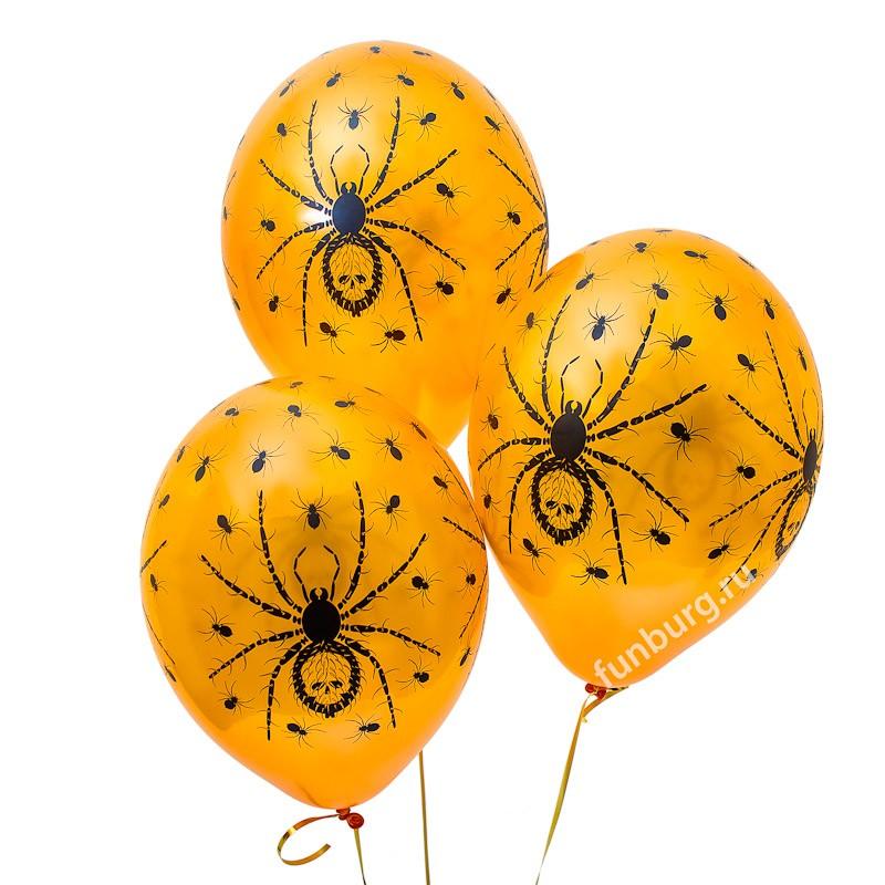 Воздушные шары «Оранжевые пауки»Латексные с рисунком<br>Размер: 35 см (14)Производитель: Belbal, БельгияЦвет: оранжевый, металл<br>