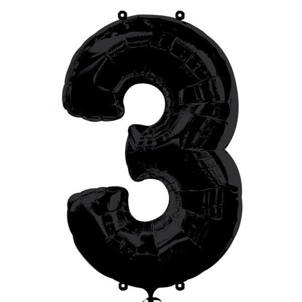 Шар из фольги «Цифра 3 (чёрная)»Цифры<br>Размер: 100?60 см Производитель: Betallic, США<br>