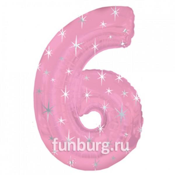 Шар из фольги «Цифра 6 (розовая)»Цифры<br>Размер: 100?60 см Производитель: CTI, США<br>