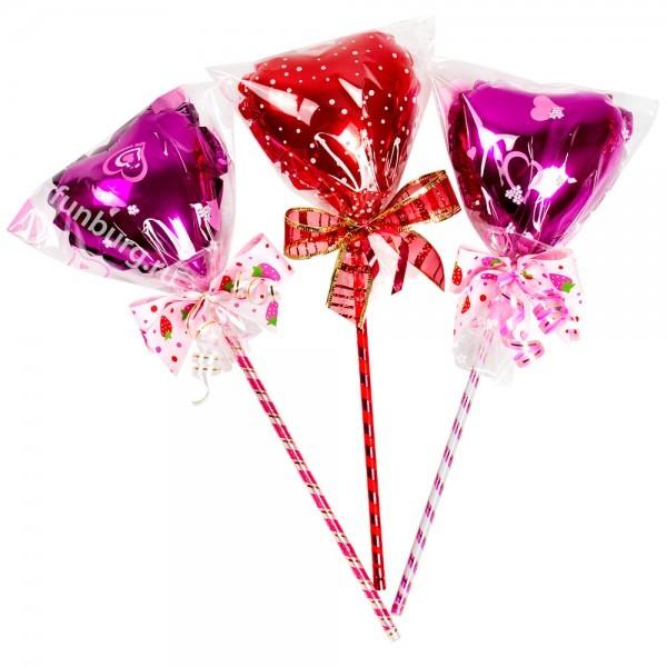 Сердечко на палочке «Мини презент»В форме сердца<br>Состав: маленькое сердце из фольги (4) на палочке, пленка и бантикВысота: 25 смПроизводство: Funburg.ru<br>