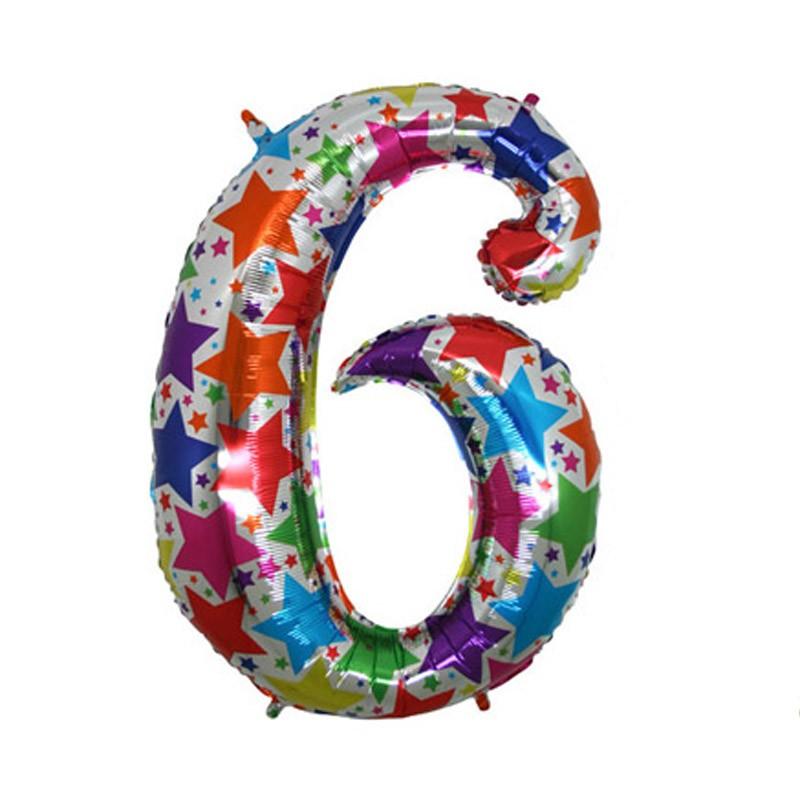 Шар из фольги «Цифра 6 (голография)»Цифры<br>Размер: 40 Производитель:  Grabo S.r.l., Италия<br>