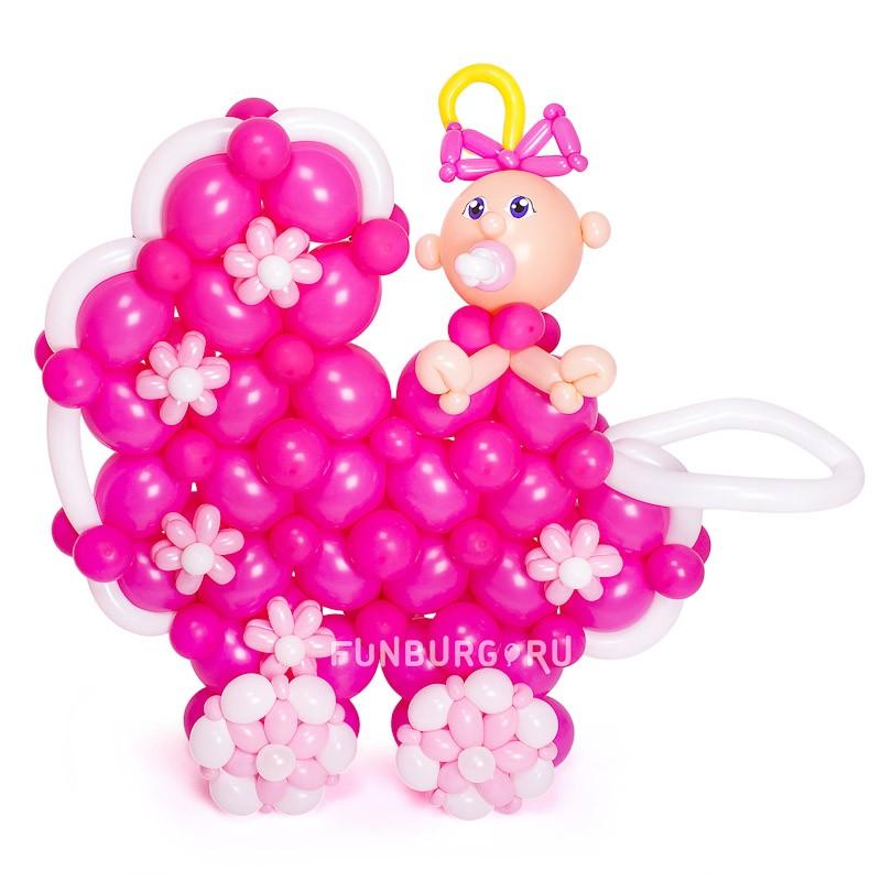 Фигура из шаров «Коляска с девочкой»Все фигуры<br>Высота: 80-90 см<br>Производство: Funburg.ru<br>