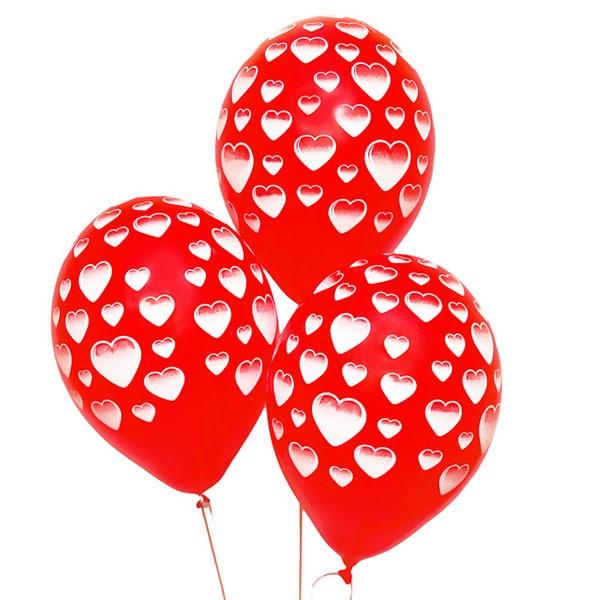 Воздушные шары «Сердечки»Латексные с рисунком<br>Размер: 35 см (14)<br>Производитель: Belbal, Бельгия<br>Цвет: красные шары, белый рисунок (сердечки)<br>