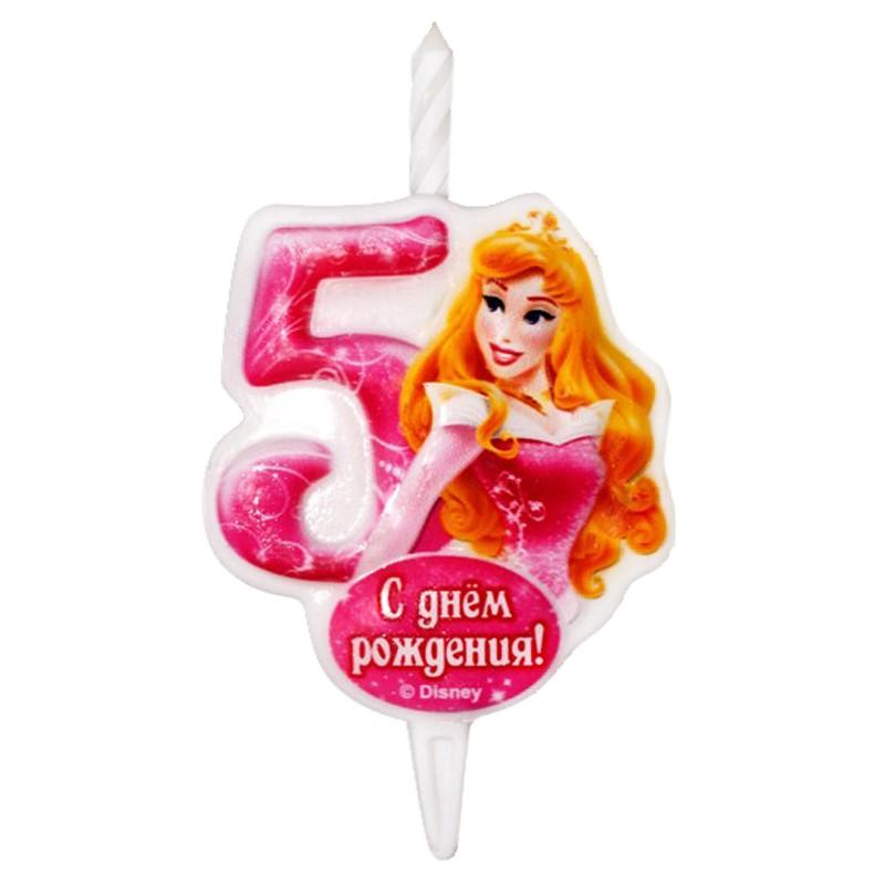 Свеча тортовая Цифра 5 «Принцесса Аврора»Свечи на торт<br> <br>Размер:<br><br><br>12?6,8 см<br><br>