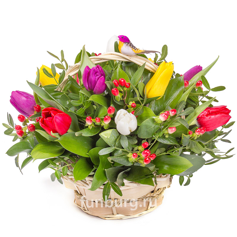 Корзина цветов «Яркая весна»Корзины цветов<br> <br>Размер:<br><br><br>высота 35 см, диаметр 30-35 см<br><br>