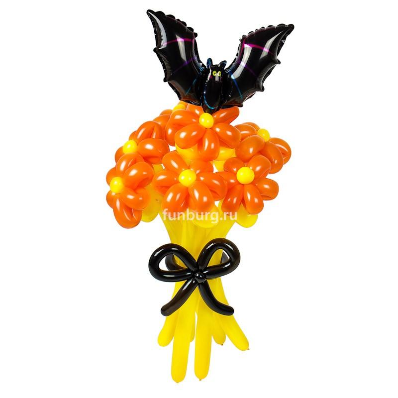 Фигура из шаров «Букет от Джека»Цветы из шаров<br>Состав: 7 цветков, черный бант, летучая мышьПроизводство: Funburg.ru<br>