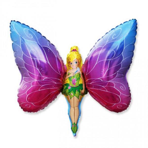 Шар из фольги «Бабочка-девочка»Из фольги с рисунком<br>Размер: 104 смПроизводитель: Flexmetal, Испания<br>