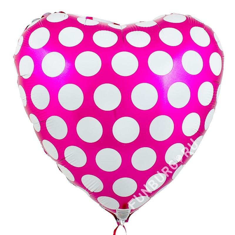 Сердце из фольги «Темно-розовое в горошек»Из фольги с рисунком<br>Размер: 45 см (18) <br>Производитель: Flexmetal, Испания<br>