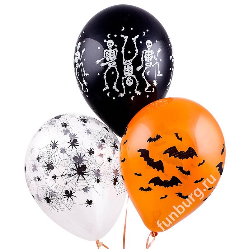 Воздушные шары «Хэллоуин»Хэллоуин<br>Размер: 30 см (11)Производитель: Qualatex, СШАЦвет: оранжевый, черный и прозрачный<br>