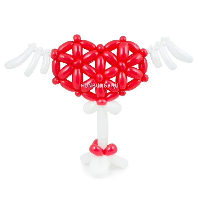 Фигура из шаров «Сердечко с крылышками»С сердцами<br><br> Высота:<br><br><br> 40-50 см<br><br><br> Производство:<br><br><br> Funburg.ru<br><br><br>