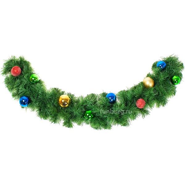 Еловая гирлянда №3Новый год и Рождество<br> <br>Состав на 1 метр гирлянды:<br><br><br>7шаров (диаметр5см)<br><br><br> <br>Диаметр гирлянды:<br><br><br>21 см<br><br>