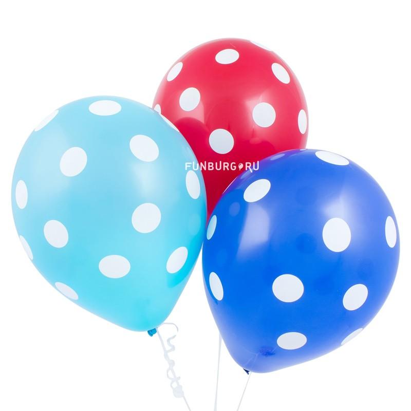 Воздушные шары «Точки»Латексные с рисунком<br>Размер: 30 см (12)Производитель: Sempertex, КолумбияЦвет шаров: ассорти<br>