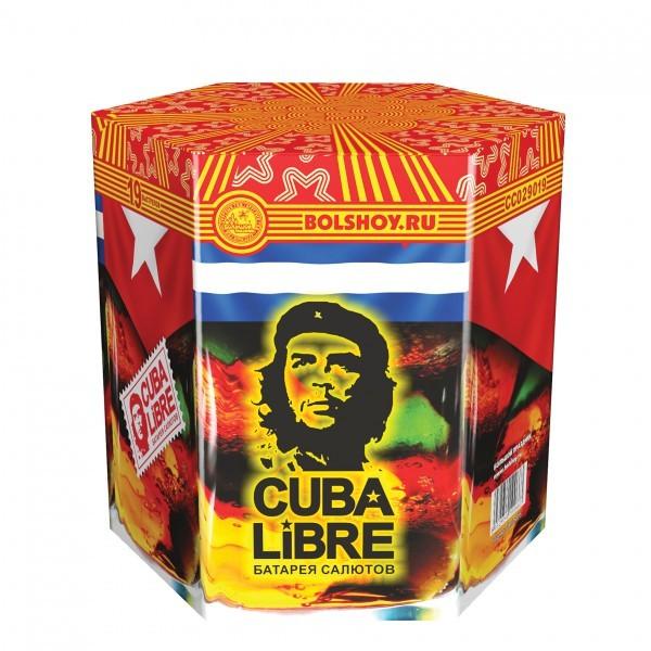 Салют (19 зарядов) «Куба либре»Салюты (батареи салютов)<br>Длительность: 37 c.Калибр: 1,25Число зарядов: 19Вес: 2,4 кгРазмер: 18?20?20 см<br>