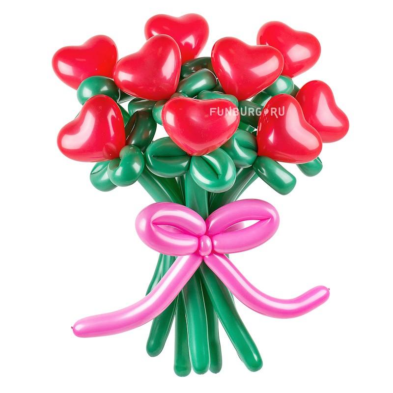 Фигура из шаров «Цветы любви»Цветы из шаров<br>Высота: 60-65 см<br> Производитель: Funburg.ru<br> Состав: 9, 11 или 15 цветков, розовый бантик<br>