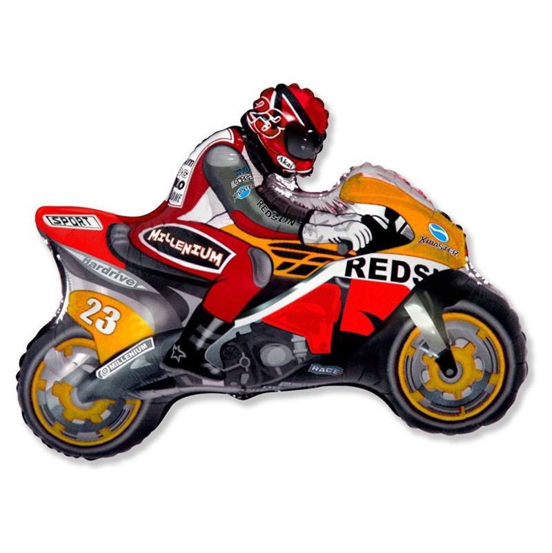 Шар из фольги «Оранжевый мотоцикл»С техникой<br>Длина: 74 см Производитель: Flexmetal, Испания<br>