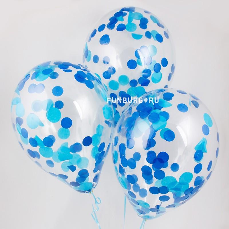Шар с конфетти «Для мальчика»Латексные с конфетти<br>Размер: 30 см (12)<br>Цвет конфетти: голубой, синий<br>Производитель: Sempertex, Колумбия<br>