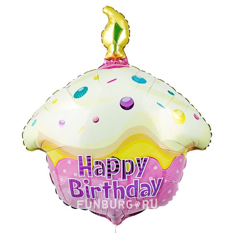 Шар из фольги «Розовый кекс с Днем рождения»День рождения<br>Длина: 51 см (20) Производитель: Flexmetal, Испания<br>