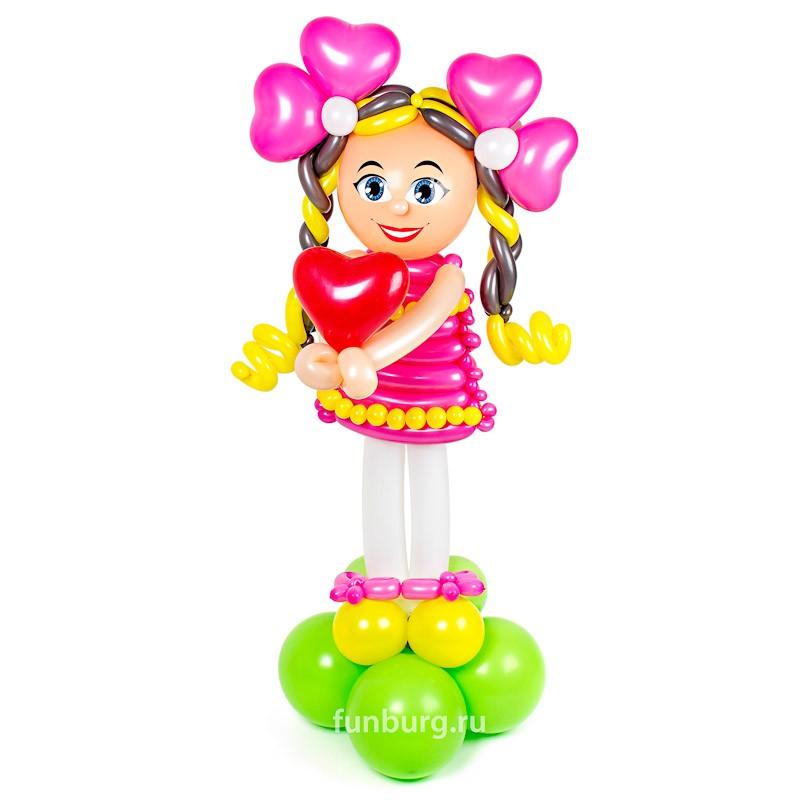 Фигура из шаров «Влюбляшка»Все фигуры<br>Состав: девочка и сердцеВысота: 110?50 смПроизводство: Funburg.ru<br>
