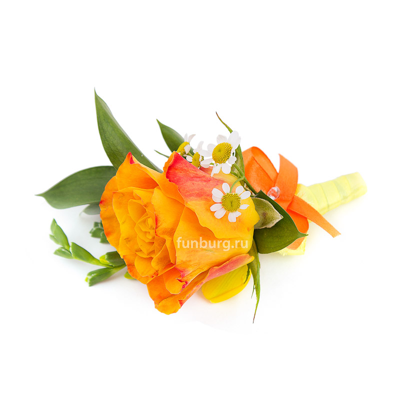 Бутоньерка «Солнечная леди»Бутоньерки<br> <br>Состав:<br><br><br>1 роза, рускус, матрикария, декор, лента атласная, булавка для бутоньерок<br><br>