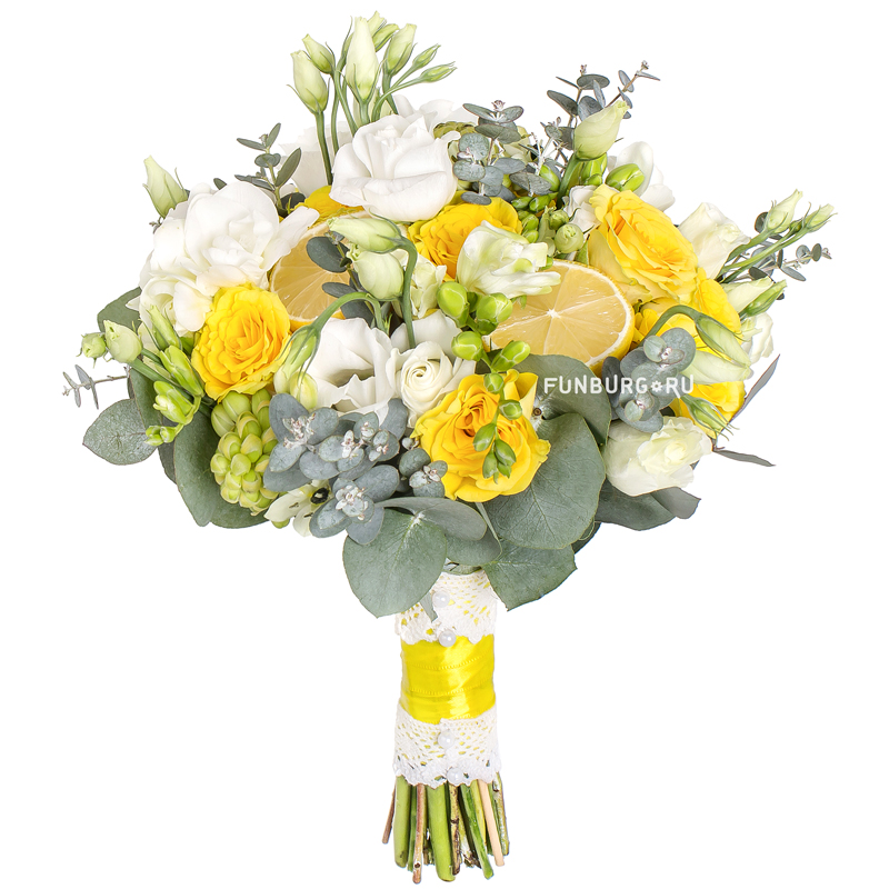Букет невесты «Лимонная свежесть»Букеты невесты<br><br> Диаметр:<br><br><br> 20-23 см<br><br><br>