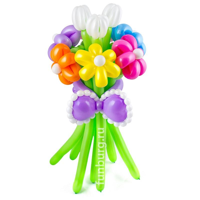 Фигура из шаров «Тюльпаны с ромашками»Цветы из шаров<br>Высота: 60 см<br>Состав: 9 цветков из шаров, бантик<br>Производство: Funburg.ru<br>