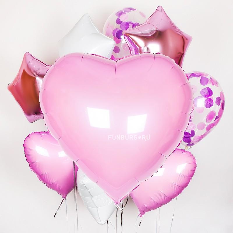 Набор шаров «Большое сердце»Латексные без рисунка<br>Вы можете корректировать количество шаров в наборе по своему желанию.<br>