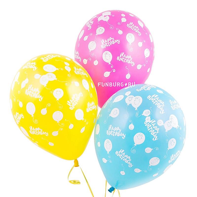 Воздушные шары «Happy Birthday (шарики)»День рождения<br>Размер: 30 см (12)Производитель: Sempertex, КолумбияЦвет: ассорти (пастель)<br>