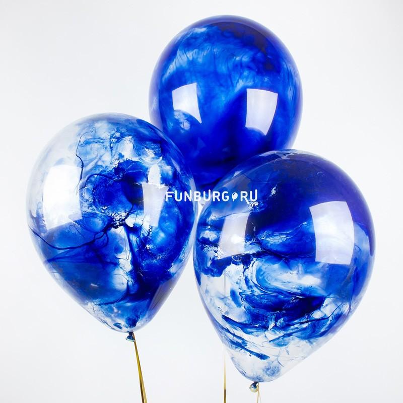 Мраморные шары «Космос»Латексные без рисунка<br>Размер: 30 см (12)<br>Производитель: Sempertex, Колумбия<br>В силу технологии изготовления, шарики нужно заказывать не позднее, чем за день до доставки/самовывоза.<br>Цвет шаров: синий<br>Шарики изготавливаются вручную, поэтому рисунок каждый раз будет неповторим.<br>