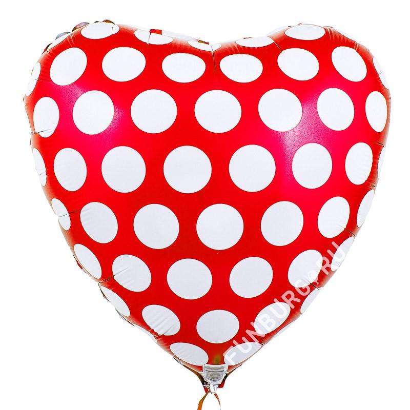 Сердце из фольги «Красное в горошек»Из фольги с рисунком<br>Размер: 45 см (18) <br>Производитель: Flexmetal, Испания<br>