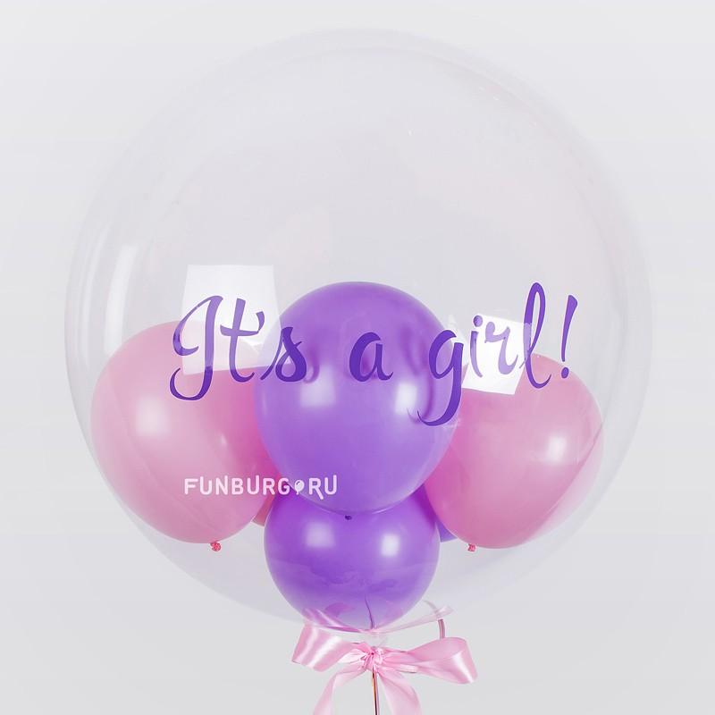 Шар Bubble с шариками «Its a girl!»Шары с наклейками<br>Размер: 20/45 см<br>Состав: шар Bubble, 6 шариков 5, наклейка.<br>Цвет маленьких шариков и надписи, а также текст надписи могут быть изменены по вашему желанию.<br>Производитель: PIONEER/QUALATEX, Япония<br>