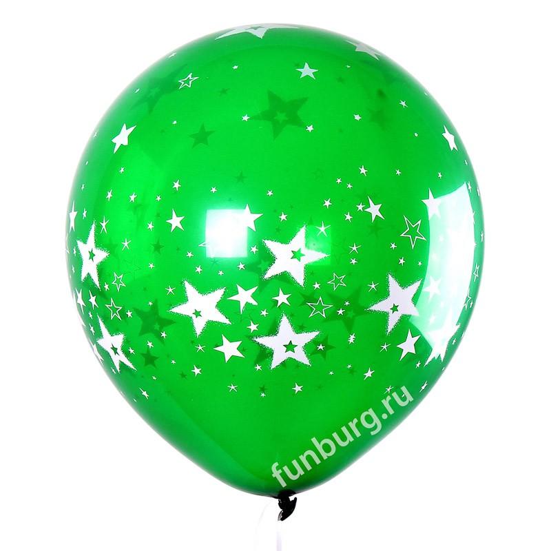 Воздушные шары «Огромные звёзды»Латексные с рисунком<br>Размер: 46 см (18)Цвета: красный, зеленый, желтый, фиолетовыйПроизводитель: Sempertex, Колумбия<br>