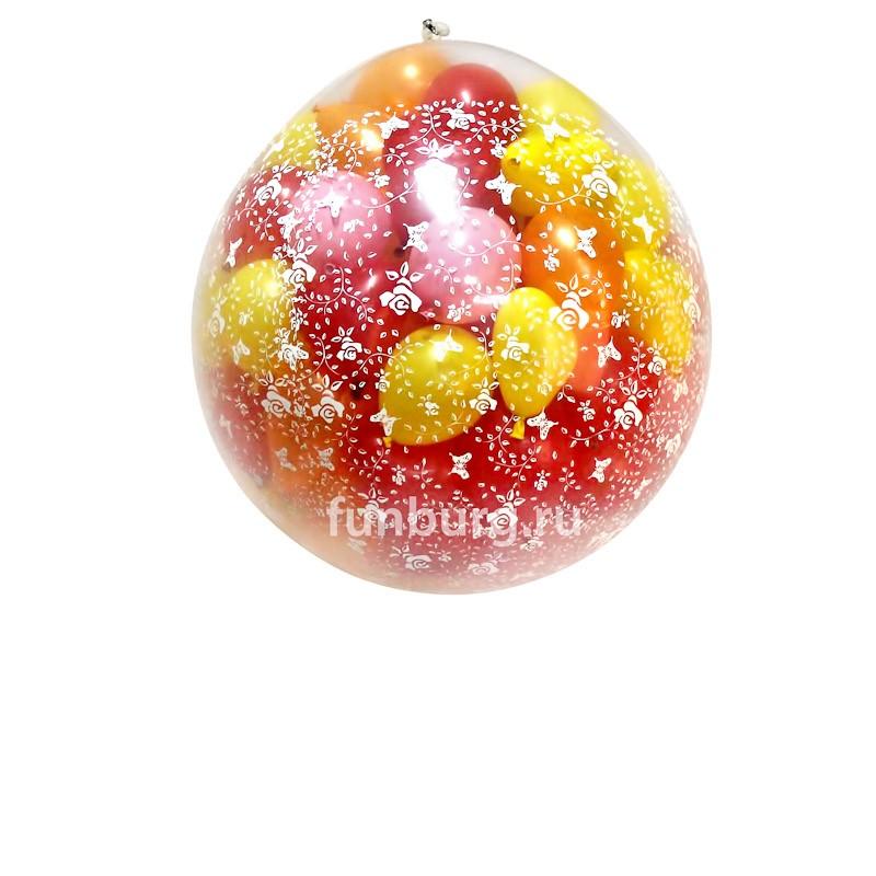Огромный шар «Шар-сюрприз»Все фигуры<br>Состав: метровый шар, 100 маленьких шариков (5)<br>Диаметр: 80 см<br>Производитель: Sempertex, Колумбия<br>