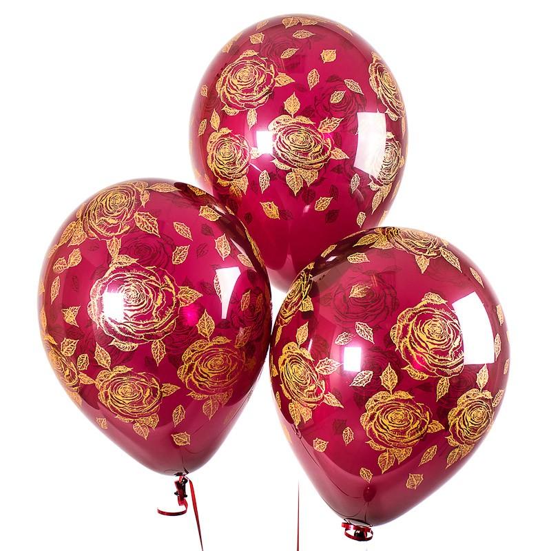 Воздушные шары «Элегантные розы»Латексные с рисунком<br>Размер: 30 см (12)Производитель: Sempertex, КолумбияЦвет шаров: бордовые (полупрозрачные)<br>