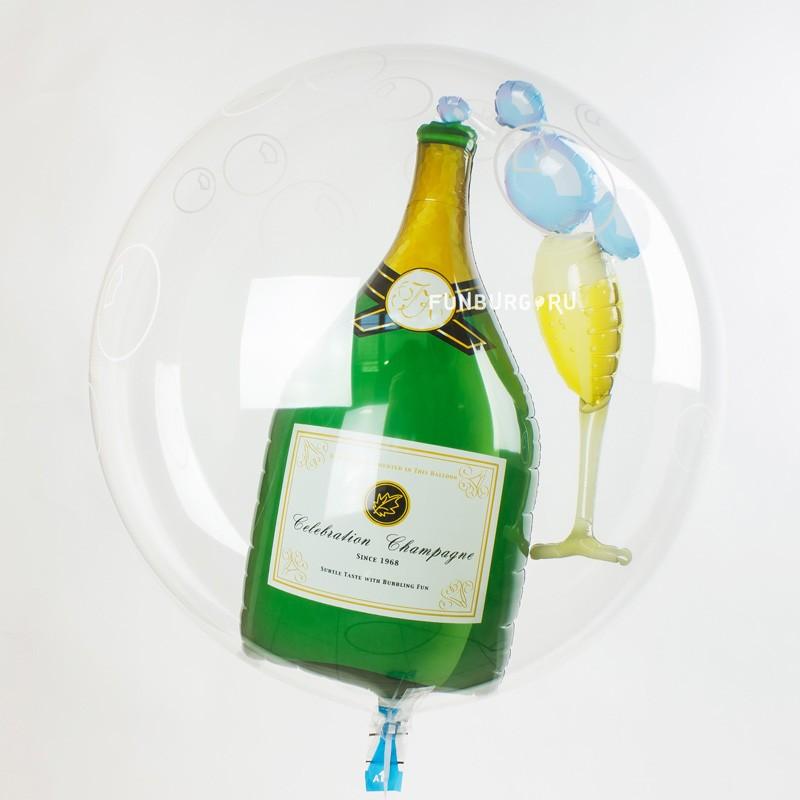 Шар Bubble «Шампанское»Новый год<br>Размер: 56 см<br>Материал: тонкий прозрачный пластик<br>Время полёта: 2-4 недели<br>Производитель: PIONEER/QUALATEX, Япония<br>