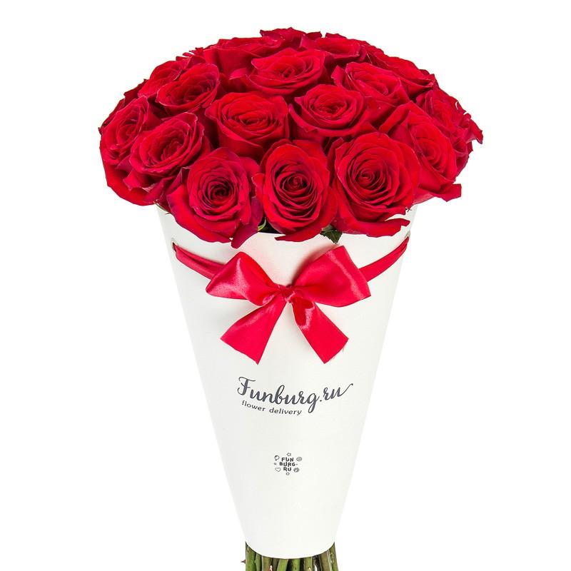 Цветы в конверте «Розы любимой»с розами<br> <br>Размер:<br><br><br>диаметр 23-25 см, высота 40 см<br><br>