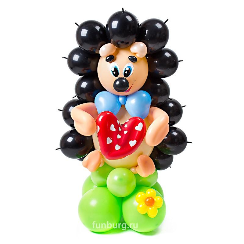 Фигура из шаров «Ёжик с сердечком»С животными<br>Высота: 90 см<br>